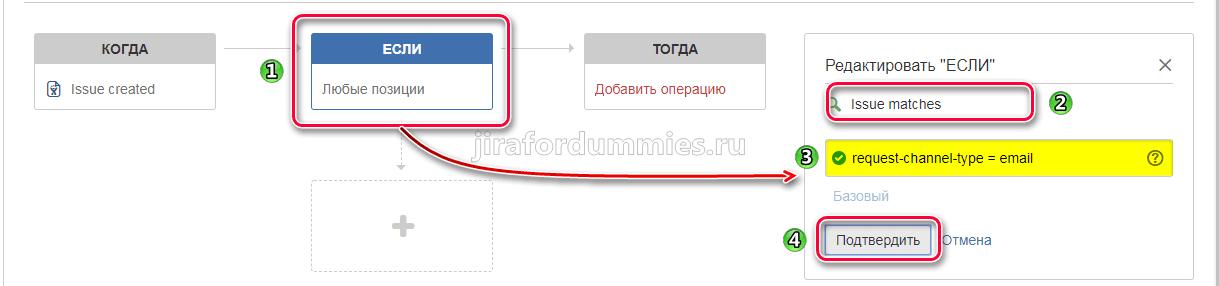 Редактирование условия ЕСЛИ правила автоматизации в Jira SD