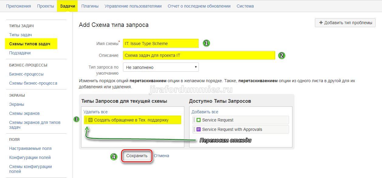 Добавить тип задачи в схему в Jira SD