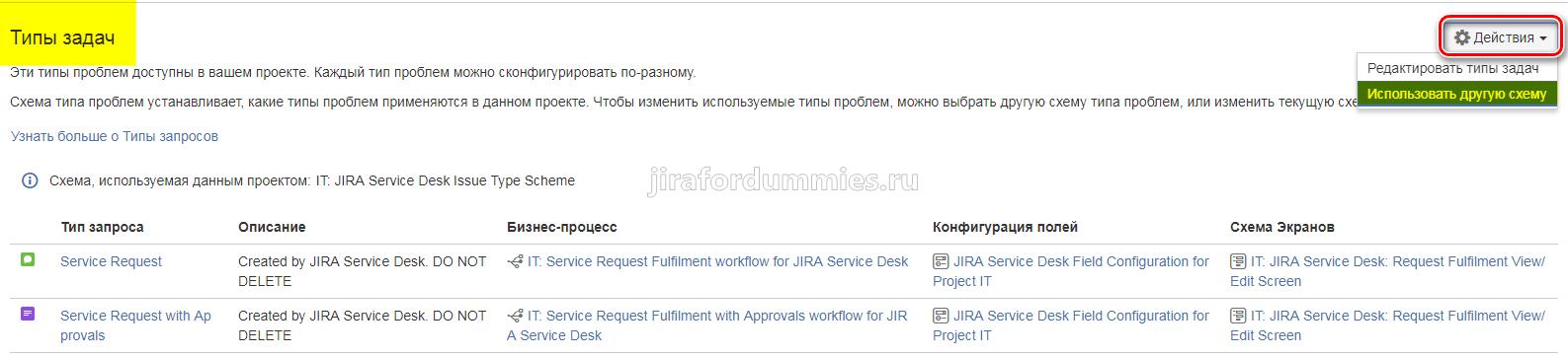 Изменить схему типа запросов в JIRA SD
