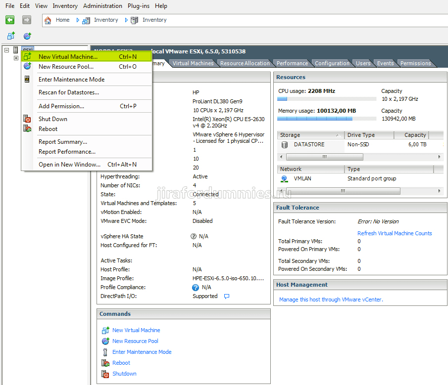 Создание виртуальной машины в VMware ESXi