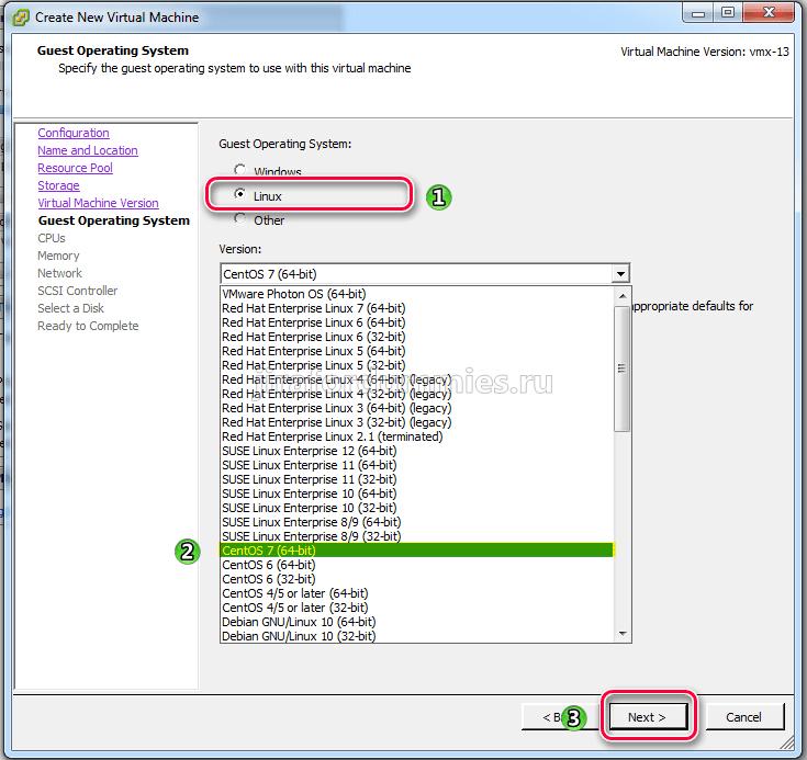 Создание виртуальной машины в VMware ESXi. Выбор ОС